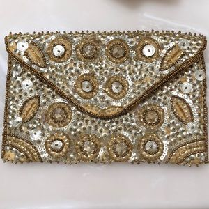 Handbags - Gold sparkly clutch